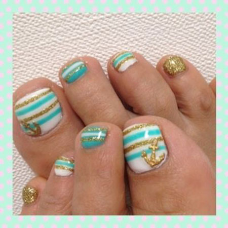 Nail Pedicures Toe Teal