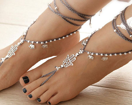 Jewelry Barefoot Gray Silver