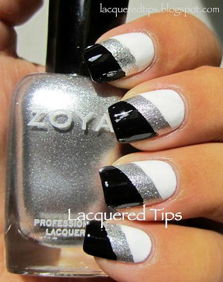Black and White Nail Design, Black Manicure Silver