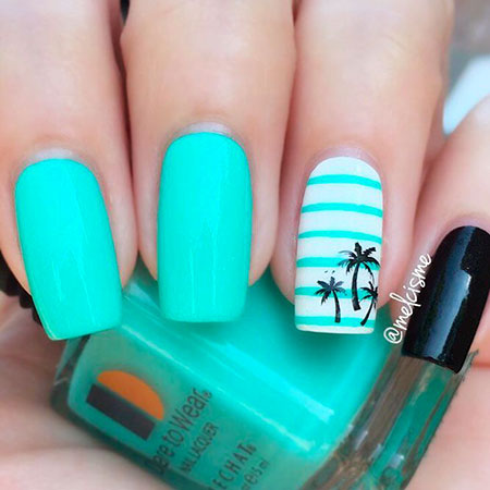 Cool Summer Nail Design, Summer Tropical Colorful Tree