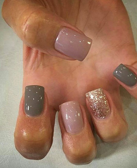 Nail Idea for Short Nails, Ideas Grey Pink Glitter