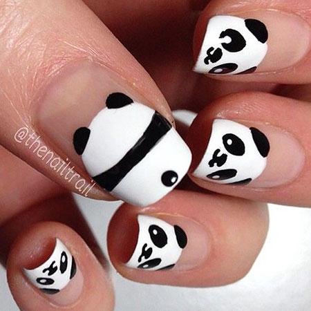 Panda Nails, Panda Halloween Photo Manicure