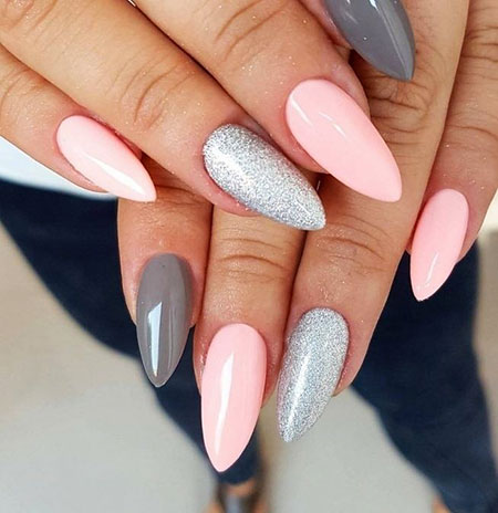 Pink Nail Design 2018, Manicure Fashion Stiletto Paznokcie