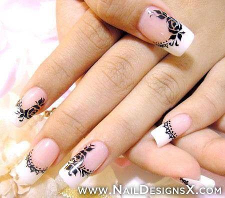 White Black Manicure Decoradas