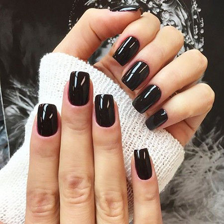 Black Gel Manicure Dark