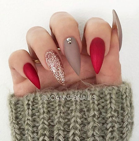 Red Manicure Love Shape