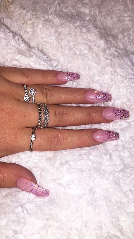 Acrylic Pink Glitter Acrylics