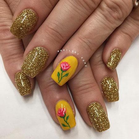 Yellow Manicure Rose Decoradas