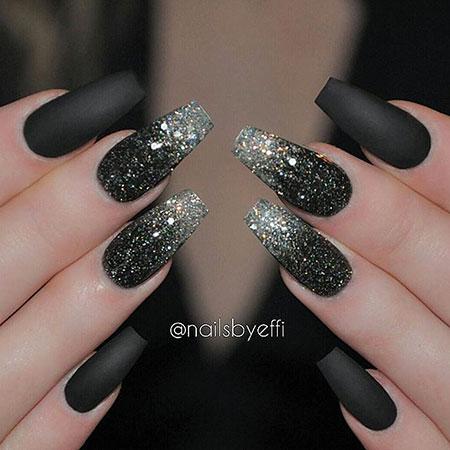 Black Glitter Matte Acrylic