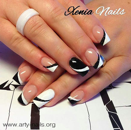 White Black French Manicure
