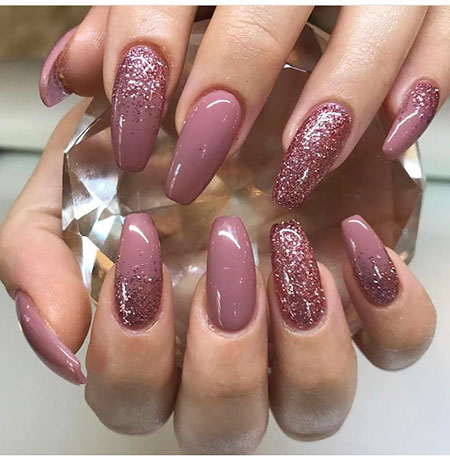 Pink Acrylics Manicure Glitter
