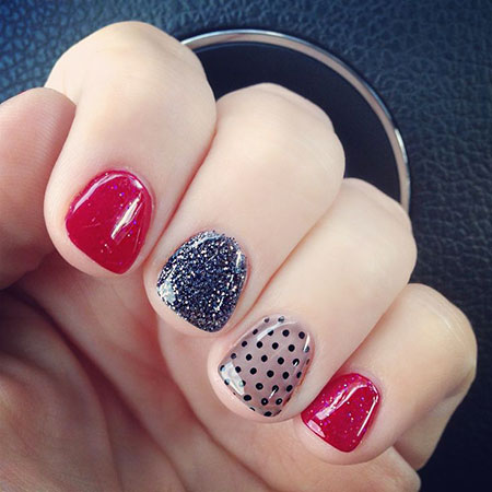 Red Glitter Transparent Dots