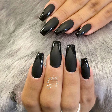Matte Black Manicure Coffin