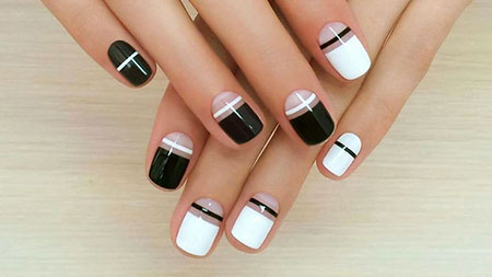 White Manicure Modern Black