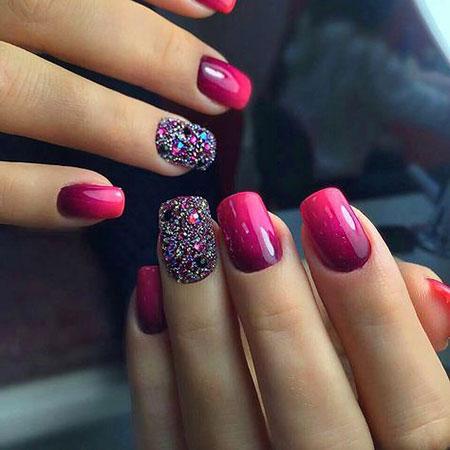 Pink Glitter Manicure Red