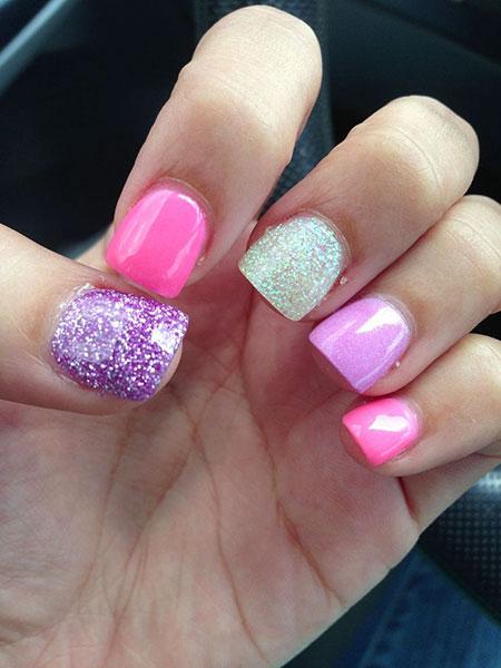 Pink Glitter Beautiful Manicure