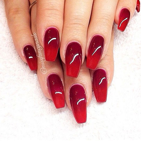 Red Manicure Acrylic Coffin