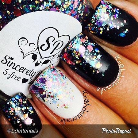 White Black Glitter Manicure