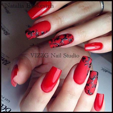 Manicure Red Simple Oval