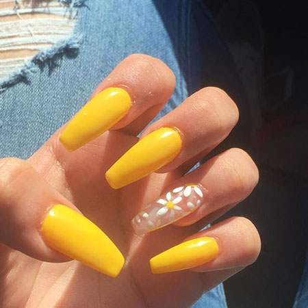 Matte Yellow Nails, Coffin Acrylic Year Matte
