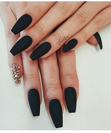 Long Black Acrylic Nails Coffin, Black Matte Coffin Acrylic