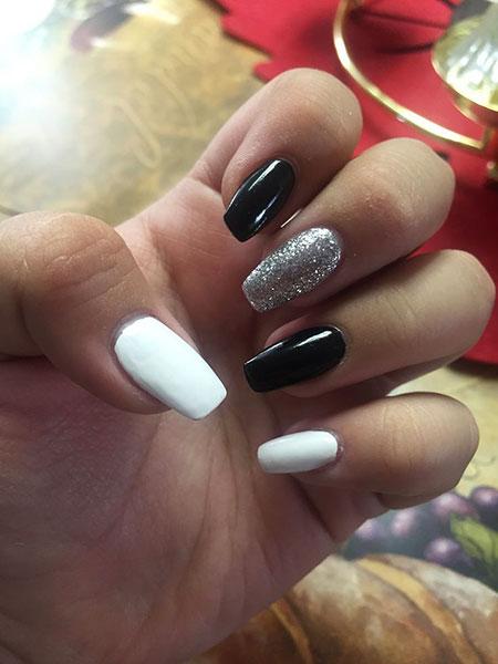 Matte Nails, White Black Coffin Manicure