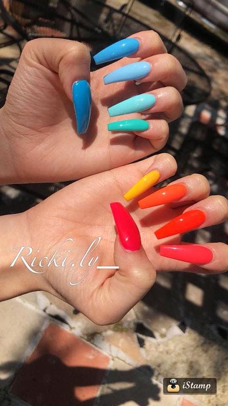 Colorful Very Long Nails, Long Ideas Nägel Unghie