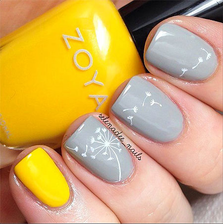 Spring Yellow and Grey Nails, Spring Polish But Love
