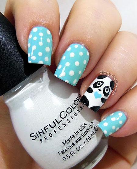 Blue Base Panda Nails, Manicure Panda Week Great