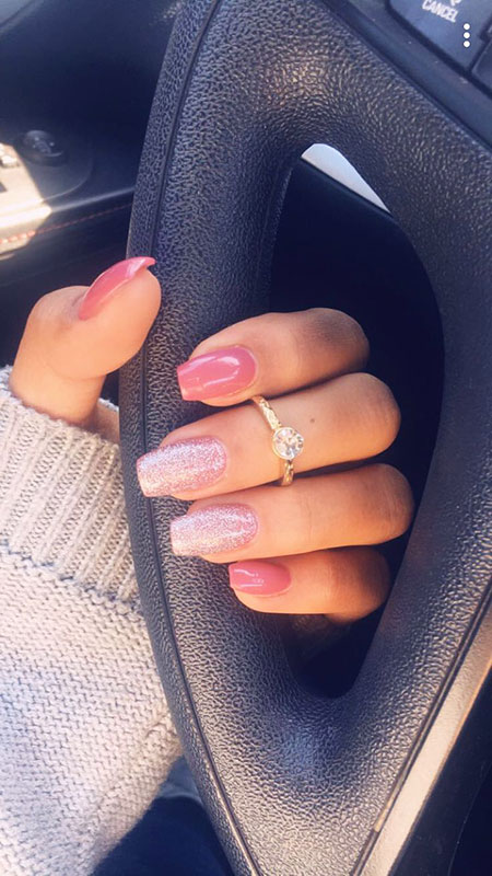 Every-Day Nails, Pink Coffin Nude Glitter