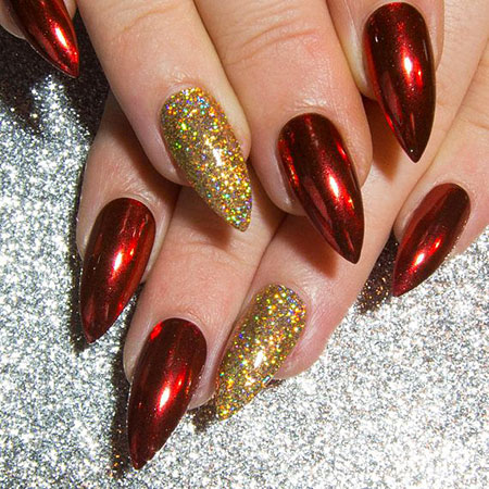 Red Glitter Stiletto Claw