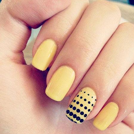 Yellow Dots Manicure Grey