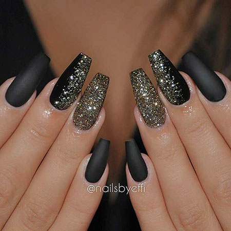 Black Coffin Glitter New