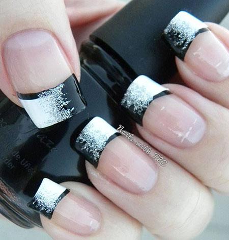 Black White Manicure Glitter