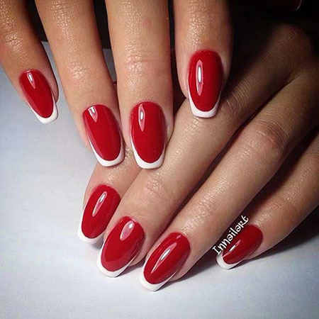Red White French Manicure