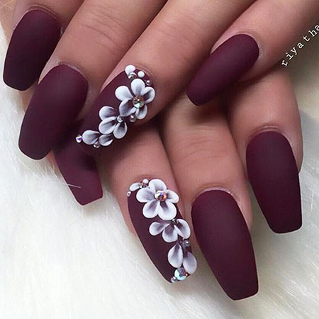 3D Long Nails, Matte Manicure Love Ideas
