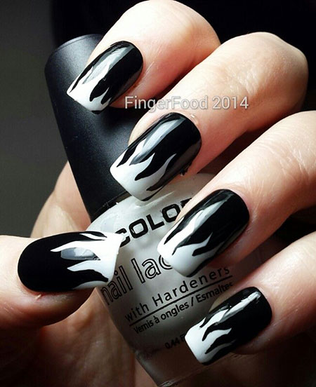 Cool Black and White Nail Art, White Manicure But Day