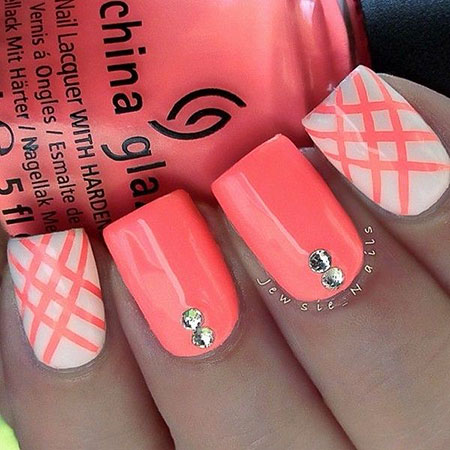 Coral Coloured Nail Design, Easy Manicure Day Good