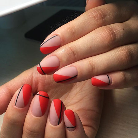 Line Nail Art, Red Manicure Love Classic