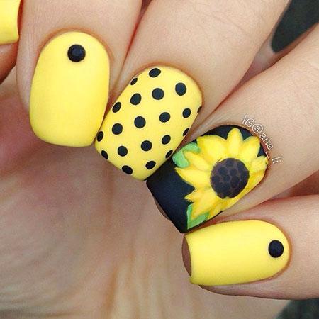 Sunflower Nail Desing, Dots Yellow Fun Polka