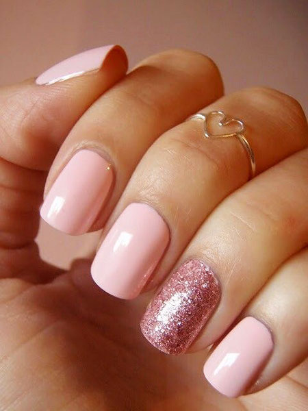 Cute Pink Nail Design, Pink Love Rose Easy