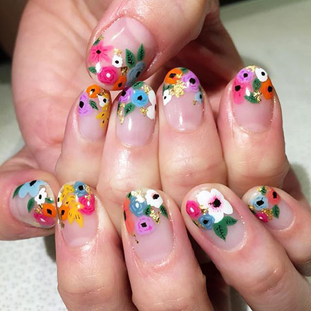 Floral Colorful Nails, New Gel Floral Flower