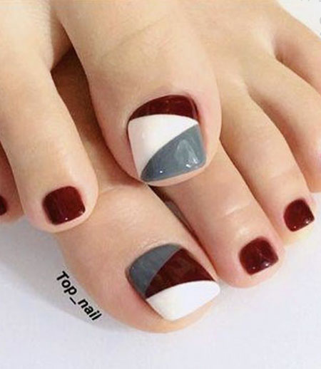Dark Red Toe Nail Design, Manicure Red Foot Grey