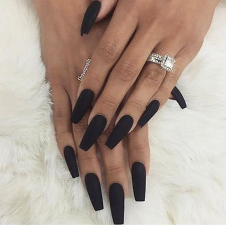 Long Black Coffin Shaped Nails, Black Coffin Matte Beautiful
