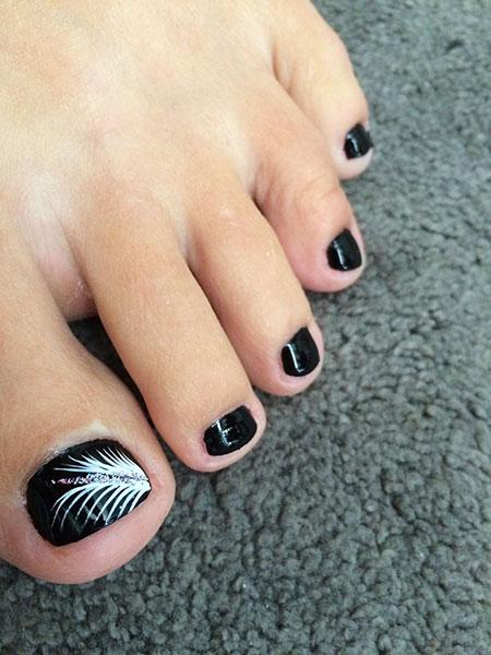 Black and White Toe Nails Design, Toe Black Blue Royal