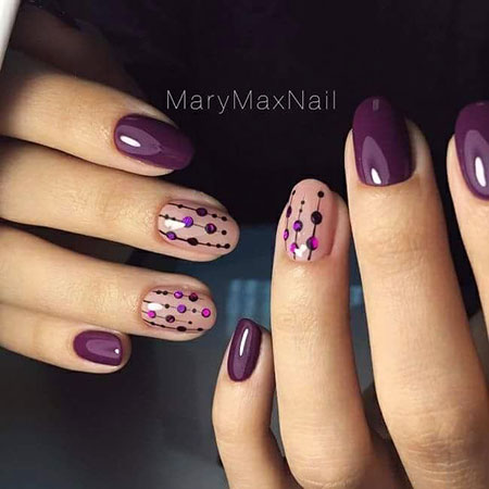 Dot Work Nails, Manicure Easy Purple