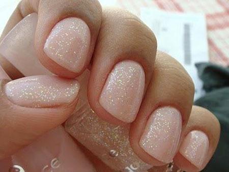 Glittered Pink Nails, Nude Manicure Wedding Polish