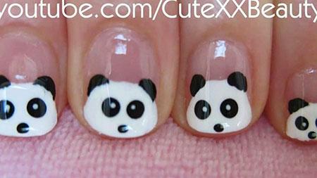 Easy Panda Nail Design, Panda But Cute Short