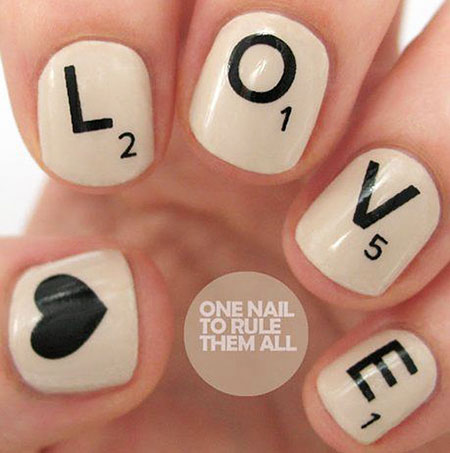 Cute Love Nail Art, Scrabble Hot Week Love