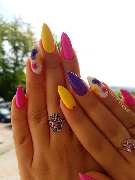 Colorful Stiletto Nails, Manicure Color Yellow Paznokcie